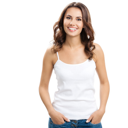 white background: Portrait of happy smiling young beautiful woman, isolated over white background