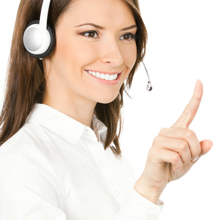 Portrait of happy smiling cheerful customer support phone operator in headset pointing at something, isolated on white background Stock Photo - 28319608
