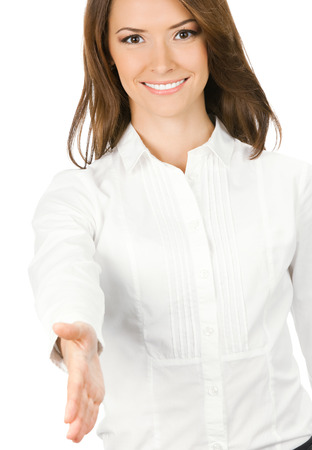 Portrait of young cheerful beautiful business woman giving hand for handshake, isolated on white background Stock Photo - 28319617