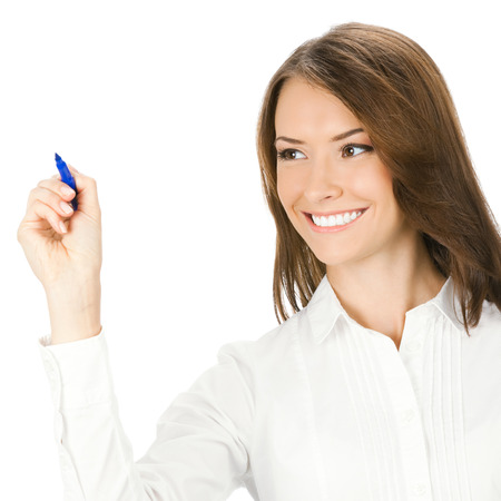 Happy smiling cheerful young business woman writing or drawing on screen with blue marker, isolated on white background Stock Photo - 28319620