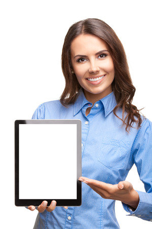 pocket pc: Happy smiling beautiful young business woman showing blank tablet pc for copyspace, isolated over white background