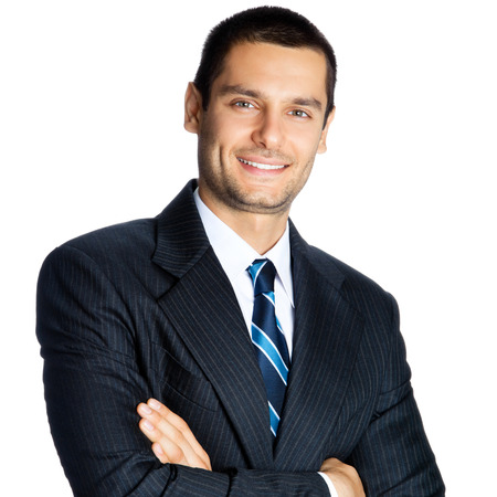 1 man only: Portrait of happy smiling businessman, isolated on white background