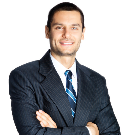 Portrait of happy smiling businessman, isolated on white background Stock Photo - 28356216