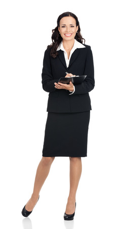 body writing: Full body of writing young happy smiling business woman with clipboard, isolated over white background