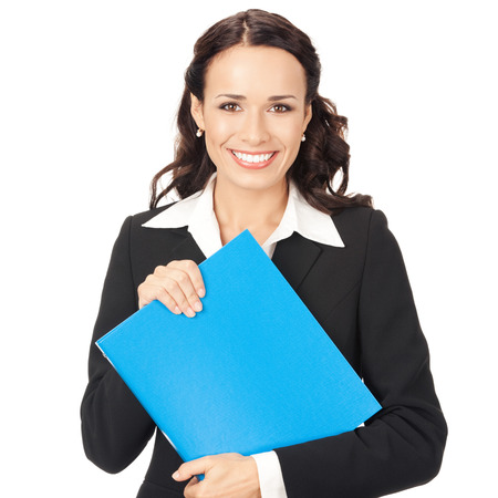 Portrait of young happy smiling business woman with blue folder, isolated on white background Stock Photo