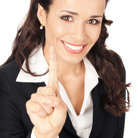 Happy smiling young business woman showing one finger, isolated on white background Stock Photo - 28827551