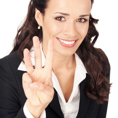Happy smiling young business woman showing three fingers, isolated on white background Stock Photo - 28827561