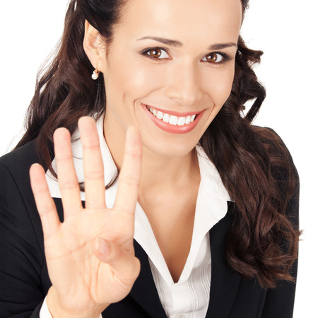 Happy smiling young business woman showing four fingers, isolated on white background Stock Photo - 28827578