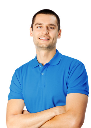 Portrait of happy smiling young man, isolated on white background photo