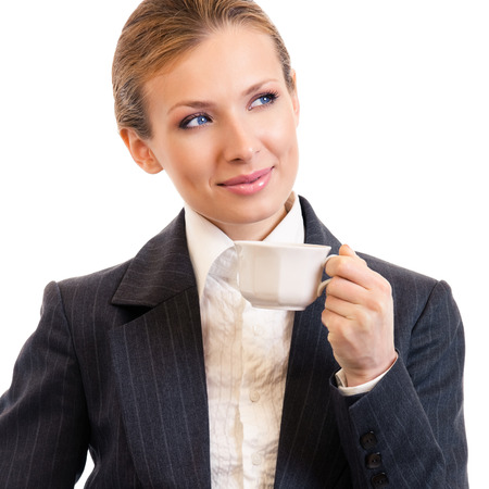 ttractive: Businesswoman with coffee, isolated on white Stock Photo