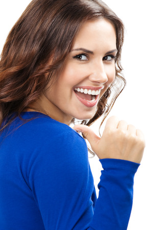 thumbs up woman: Happy smiling beautiful young woman showing thumbs up gesture, isolated over white background Stock Photo