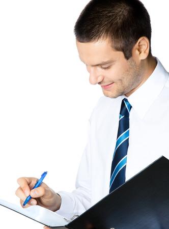 body writing: Portrait of happy smiling businessman with black folder, isolated on white background