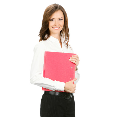 Smiling business woman with red folder, isolated over white background photo