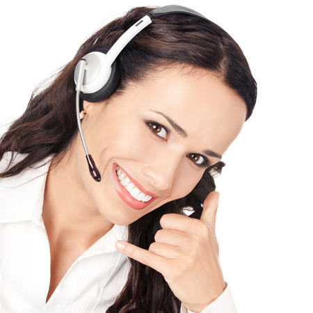 Portrait of happy smiling cheerful customer support phone operator in headset with call me gesture, isolated on white background photo