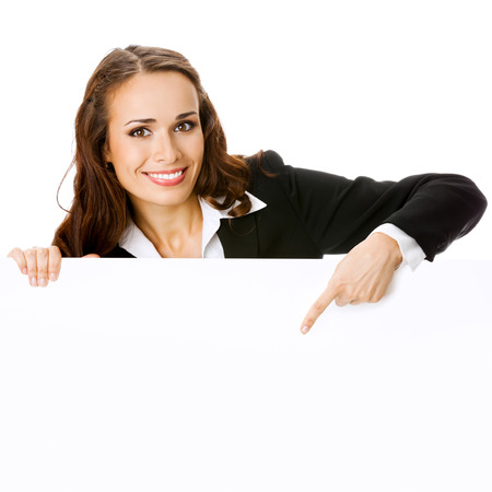 Young businesswoman showing blank signboard with copyspace area, isolated against white background