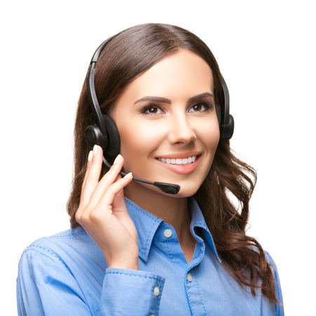 Portrait of smiling cheerful customer support phone operator in headset, isolated against white background photo