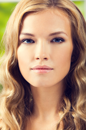 scincare: Portrait of young blond woman, closeup