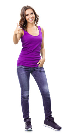 thumbsup: Full body portrait of smiling beautiful young woman in casual smart lilac clothing