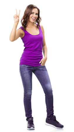 2 persons only: Full body portrait of happy smiling beautiful young woman in casual smart lilac clothing