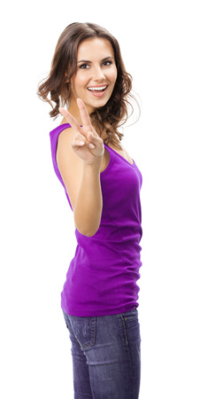 2 persons only: Happy beautiful young woman in casual smart lilac clothing