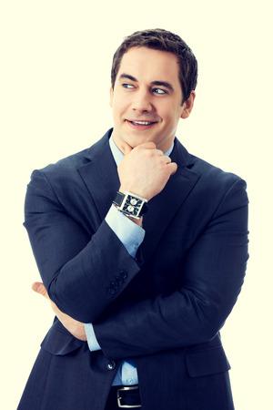 business attire teacher: Happy smiling cheerful thinking or planning pensive senior businessman Stock Photo