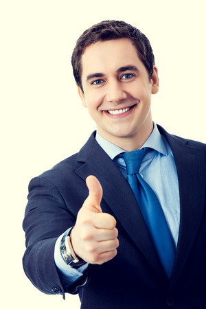 thumbs up sign: Happy smiling senior businessman with thumbs up gesture. Success in business concept. Stock Photo