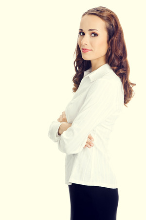 ejecutiva en oficina: Retrato de feliz sonriente mujer de negocios joven