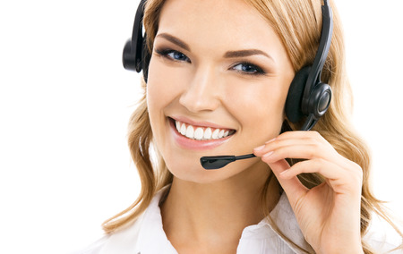 business center: Portrait of happy smiling cheerful beautiful young support phone operator in headset, isolated over white background