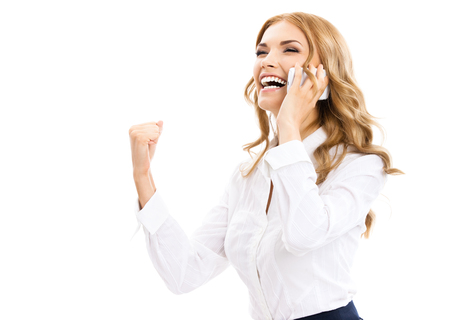 business center: Happy gesturing young cheerful smiling business woman with phone or support operator, isolated over white background