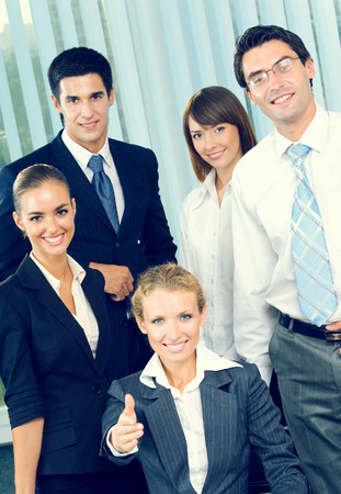 Portrait of cheerful successful business team at office Stock Photo