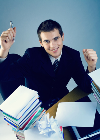 only man: Young happy successful business man or student Stock Photo