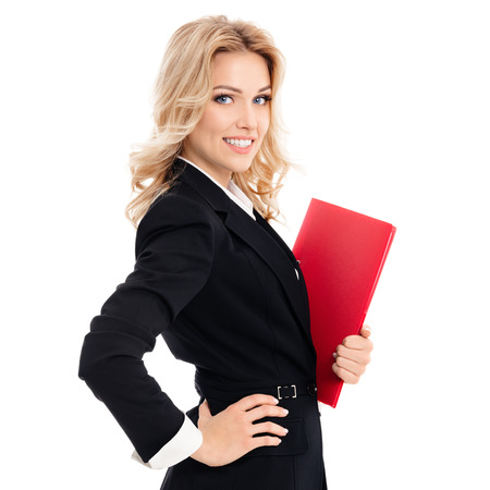 carpeta: Portrait of young happy smiling businesswoman with red folder, isolated against white background Foto de archivo