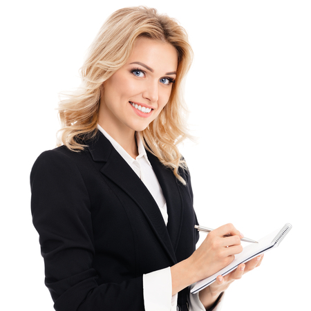 Portrait of young beautiful businesswoman with clipboard writing, isolated against white background