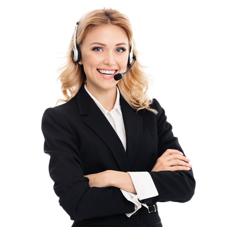 call out: Portrait of happy smiling young support phone operator or businesswomen in headset, isolated against white background