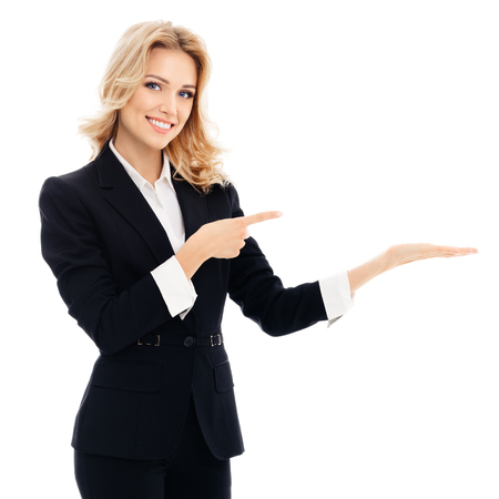 Portrait of happy smiling young cheerful businesswoman, showing something or blank copyspace area for slogan or text message, isolated against white background Stock Photo - 53604503