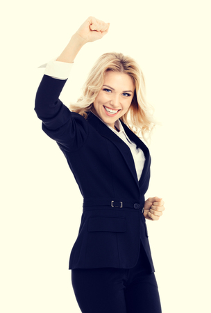 gesturing: Happy gesturing young cheerful businesswoman