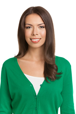 whitebackground: Portrait of happy smiling young woman in green casual smart clothing, isolated against white background Stock Photo