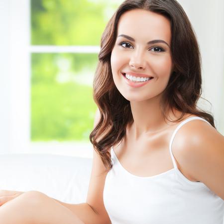 waking: Young beautiful woman waking up, at bedroom Stock Photo