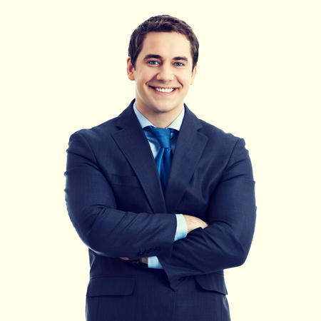 business attire teacher: Portrait of happy smiling senior businessman in crossed arms pose