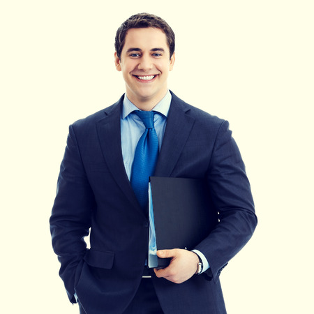 business attire teacher: portrait of happy smiling senior businessman with black folder