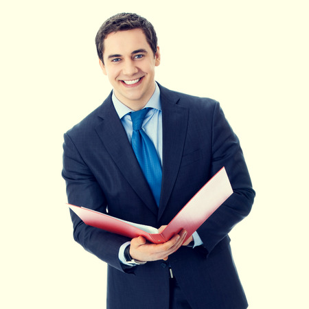 business attire teacher: portrait of happy smiling senior businessman with red folder