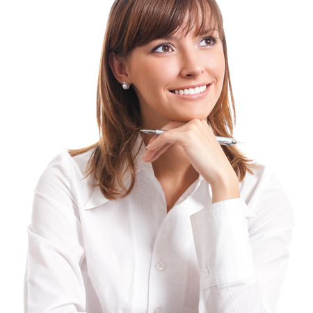 person: Happy smiling cheerful thinking or planning young business woman, isolated over white background