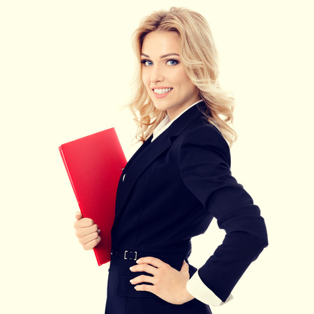 blondy: Portrait of young happy smiling businesswoman with red folder
