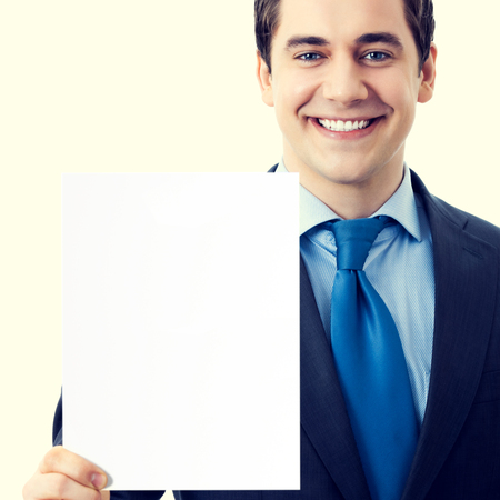 business for the middle: Happy smiling senior businessman showing blank signboard with blank empty copyspace area for sign or slogan text. Marketing and advertising concept. Stock Photo