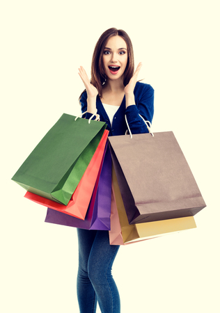 happy shopping: Very happy beautiful young woman in casual clothing with shopping bags