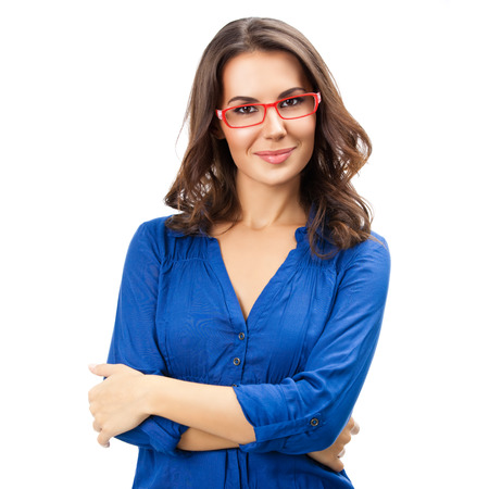 Portrait of happy smiling young cheerful businesswoman in glasses, isolated over white background. Caucasian brunette model in business concept studio shoot. Square composition.