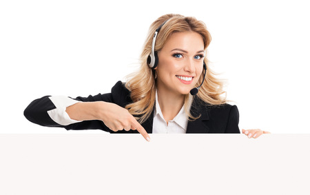 Call center. Customer support service phone operator in headset showing signboard with copyspace area for text or advertise slogan, isolated on white. Customer service help consulting concept.