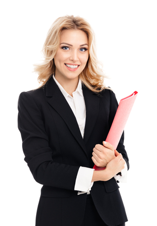 attractive  female: Happy smiling young businesswoman with red folder, isolated on white background. Caucasian blond model in business success concept.