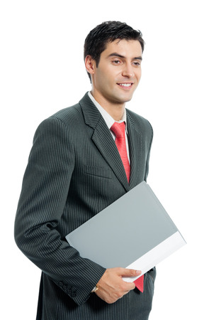 males only: Portrait of happy smiling businessman with folder, isolated on white background