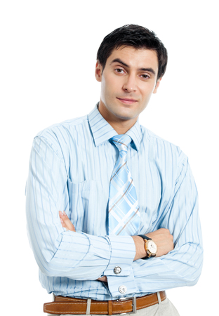 whitebackground: Portrait of happy smiling young businessman, isolated on white background. Success in business concept. Stock Photo
